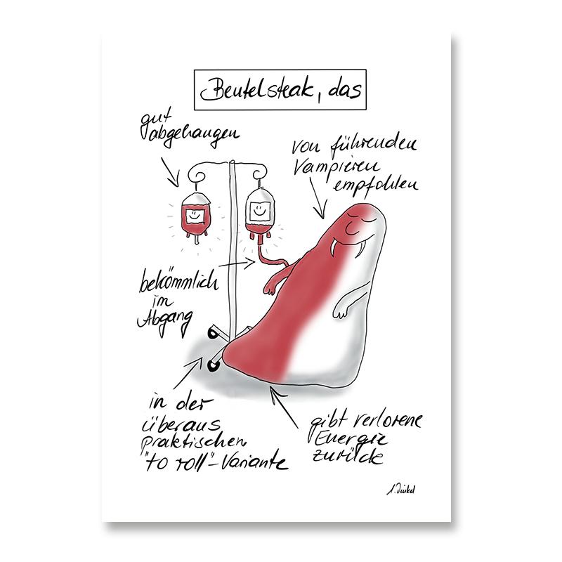"Postkarte DIN A6 ""Beutelsteak"""