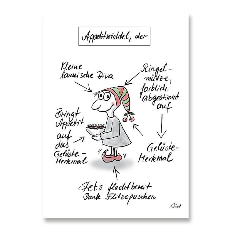 "Postkarte DIN A6 ""Appetitwichtel"""
